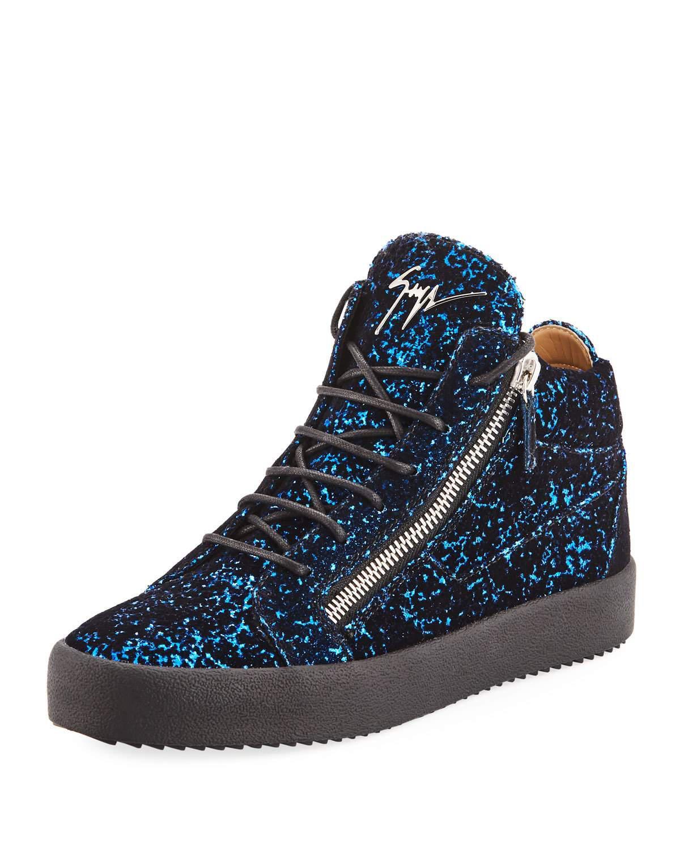 098fd34352c Lyst - Giuseppe Zanotti Men s Glitter Velvet Mid-top Sneakers in ...