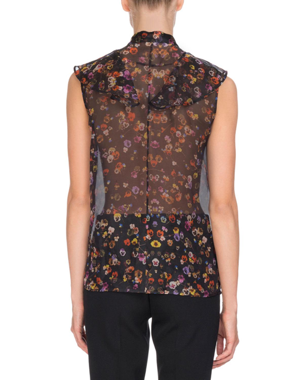 67abea4519feb Lyst - Givenchy Pansy-print Organza Blouse in Brown