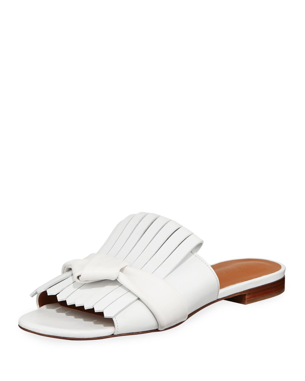 fd9d0d106e73 Lyst - Robert Clergerie Flat Kiltie Leather Mules in White