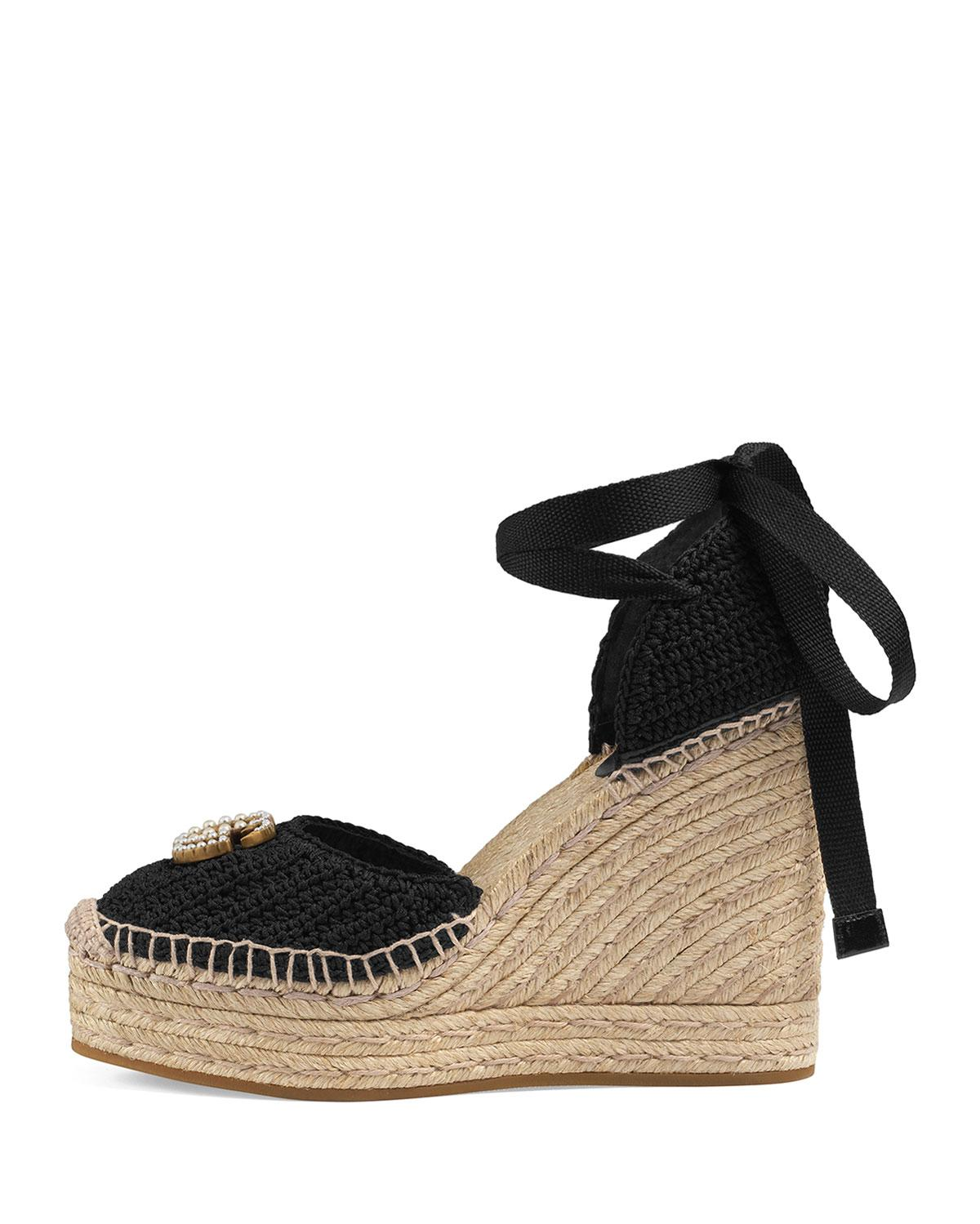 c6bd96667ea8 Lyst - Gucci Crochet Wedge Espadrilles in Black - Save 1%