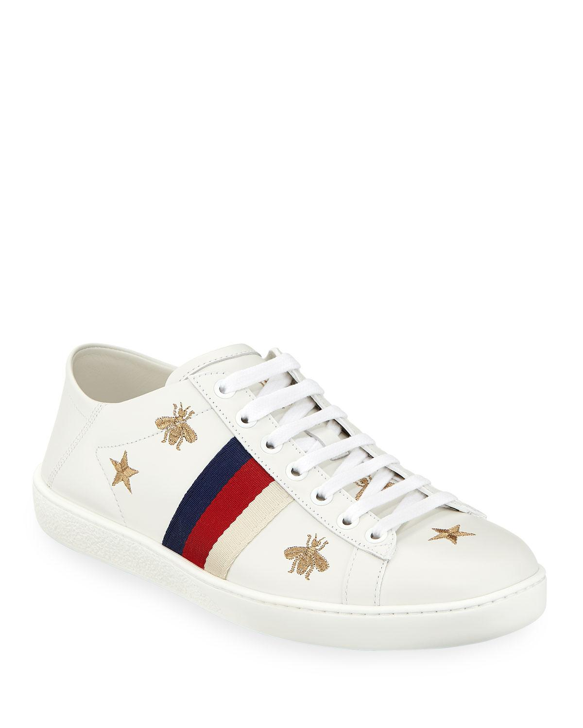 Lyst - Gucci Ace Star   Bee Fold-down Sneakers in White ddfb8354da48