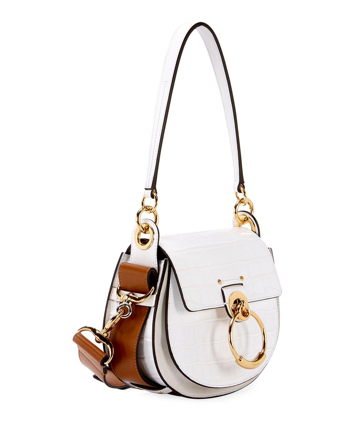 46350d81718 Lyst - Chloé Tess Small Embossed Leather Shoulder Bag in White - Save 24%
