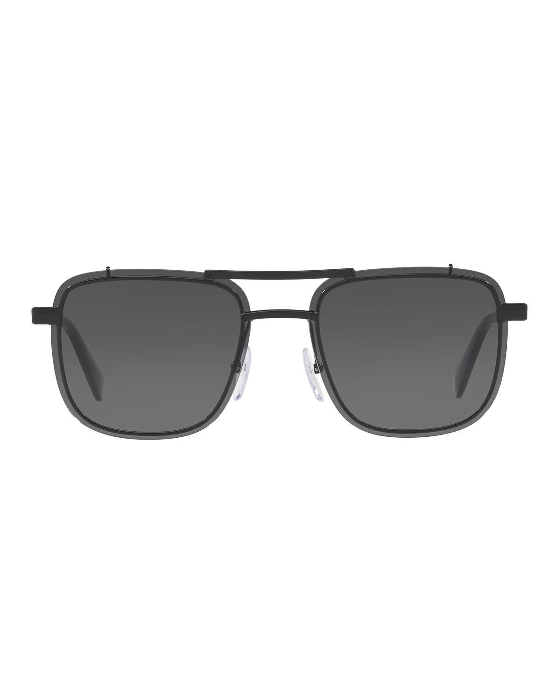 18580310e518 ... hot lyst prada mens double bridge square solid sunglasses in black for  men a5d64 748ec