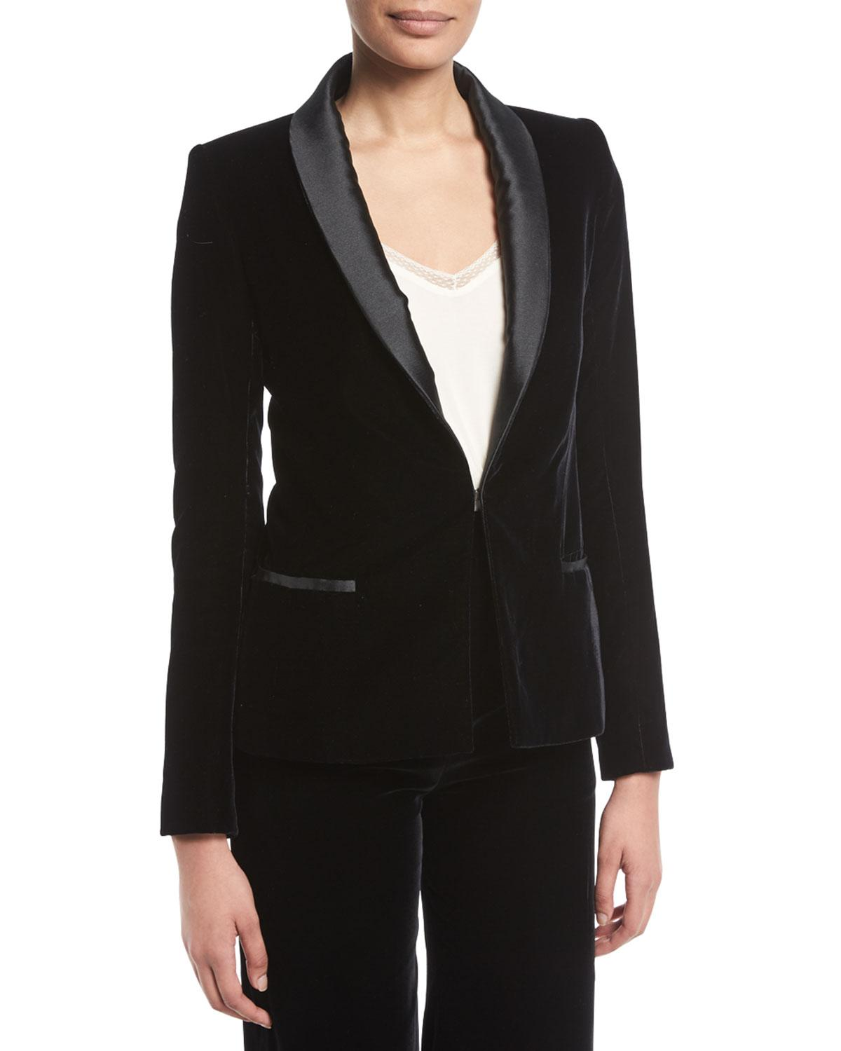 c1ec5719a090e Lyst - Brandon Maxwell Hook-front Velvet Smoking Jacket W/ Satin ...