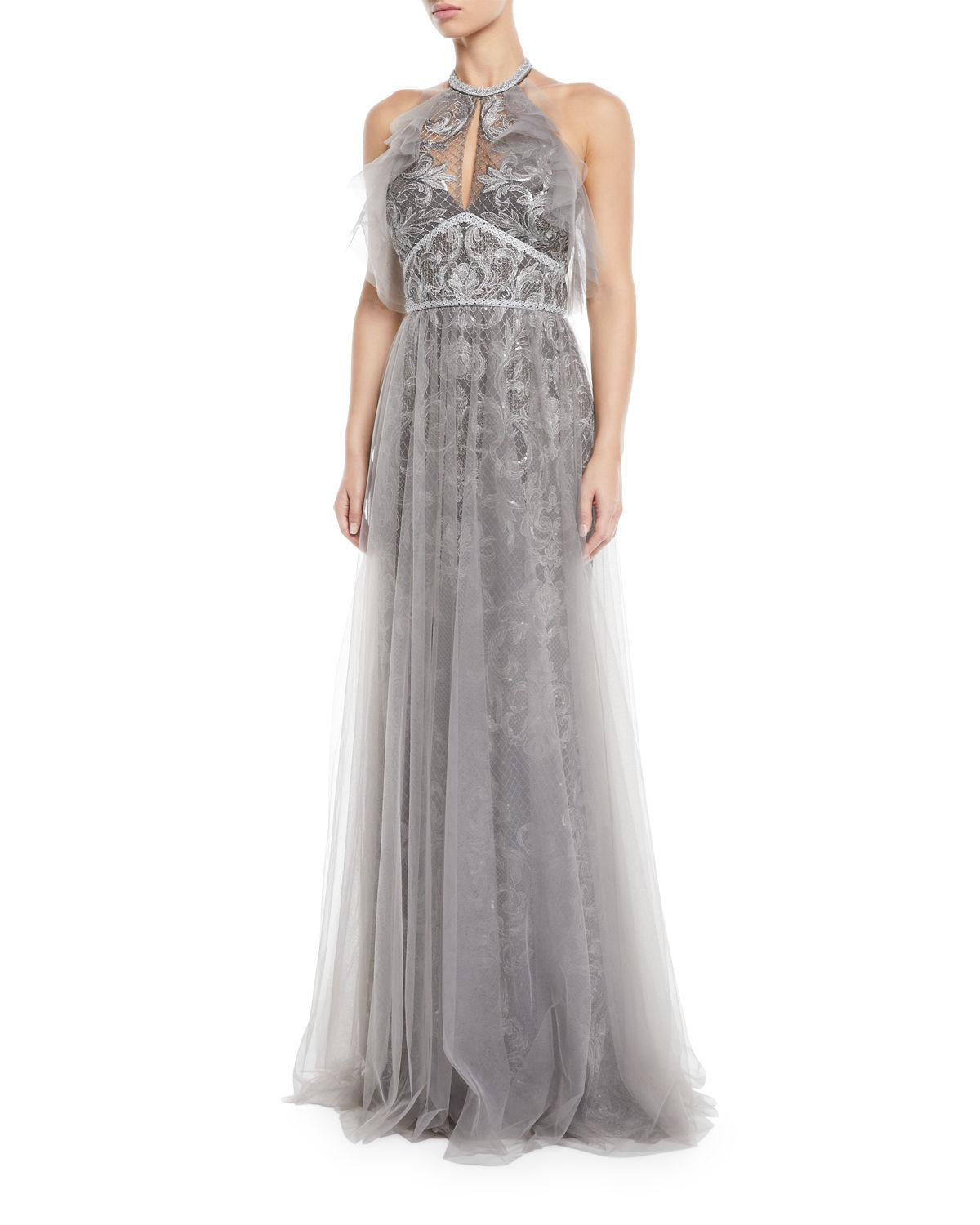 34af4772 Marchesa notte Embroidered Halter Gown W/ Tulle Skirt Overlay in ...