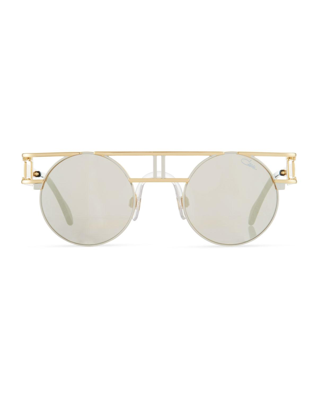 89425d0dccf Lyst - Cazal Men s Round Double-bar Metal Sunglasses in Metallic