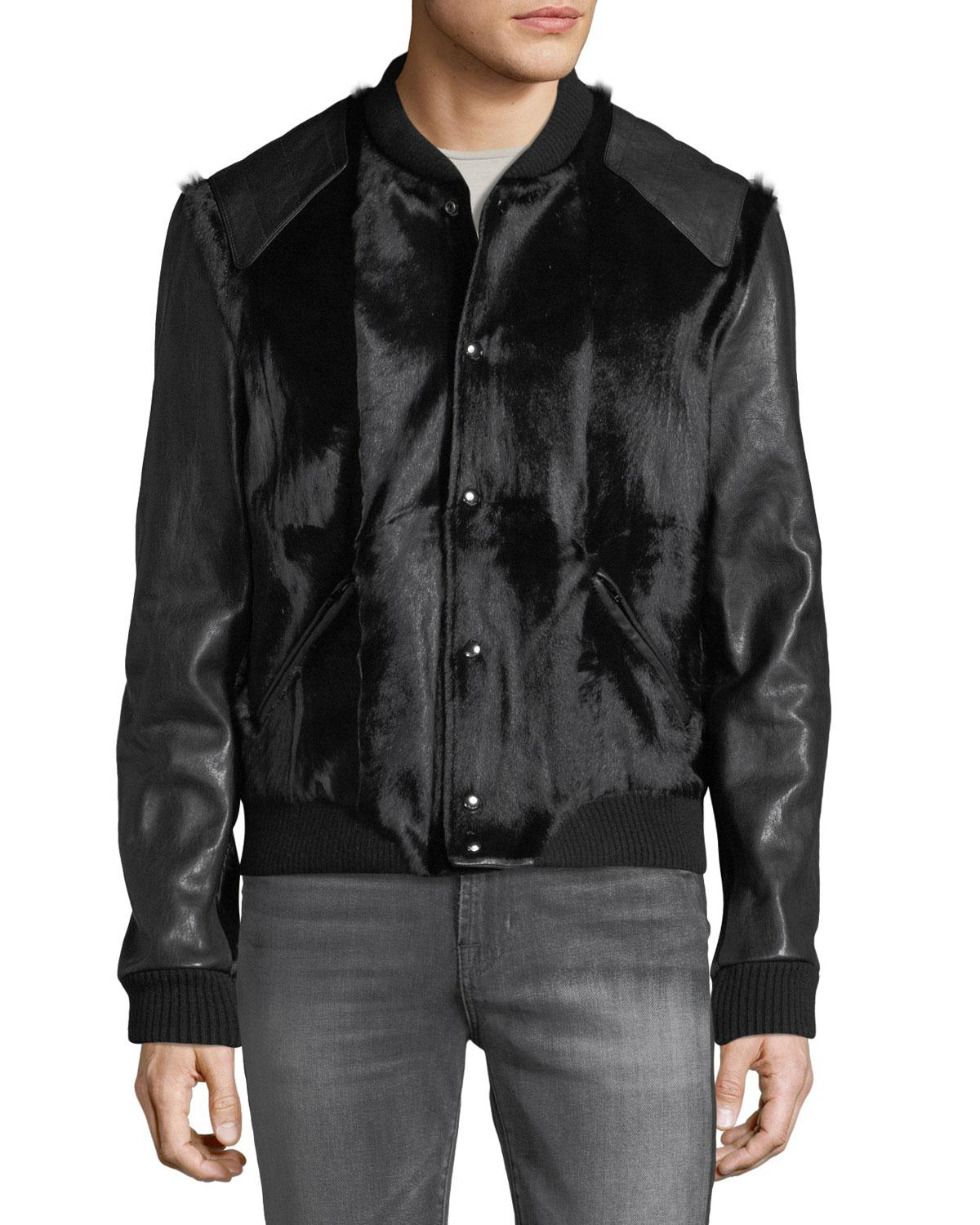 369d3fc38 Saint Laurent Men's Teddy Goatskin Bomber Jacket in Black for Men - Lyst