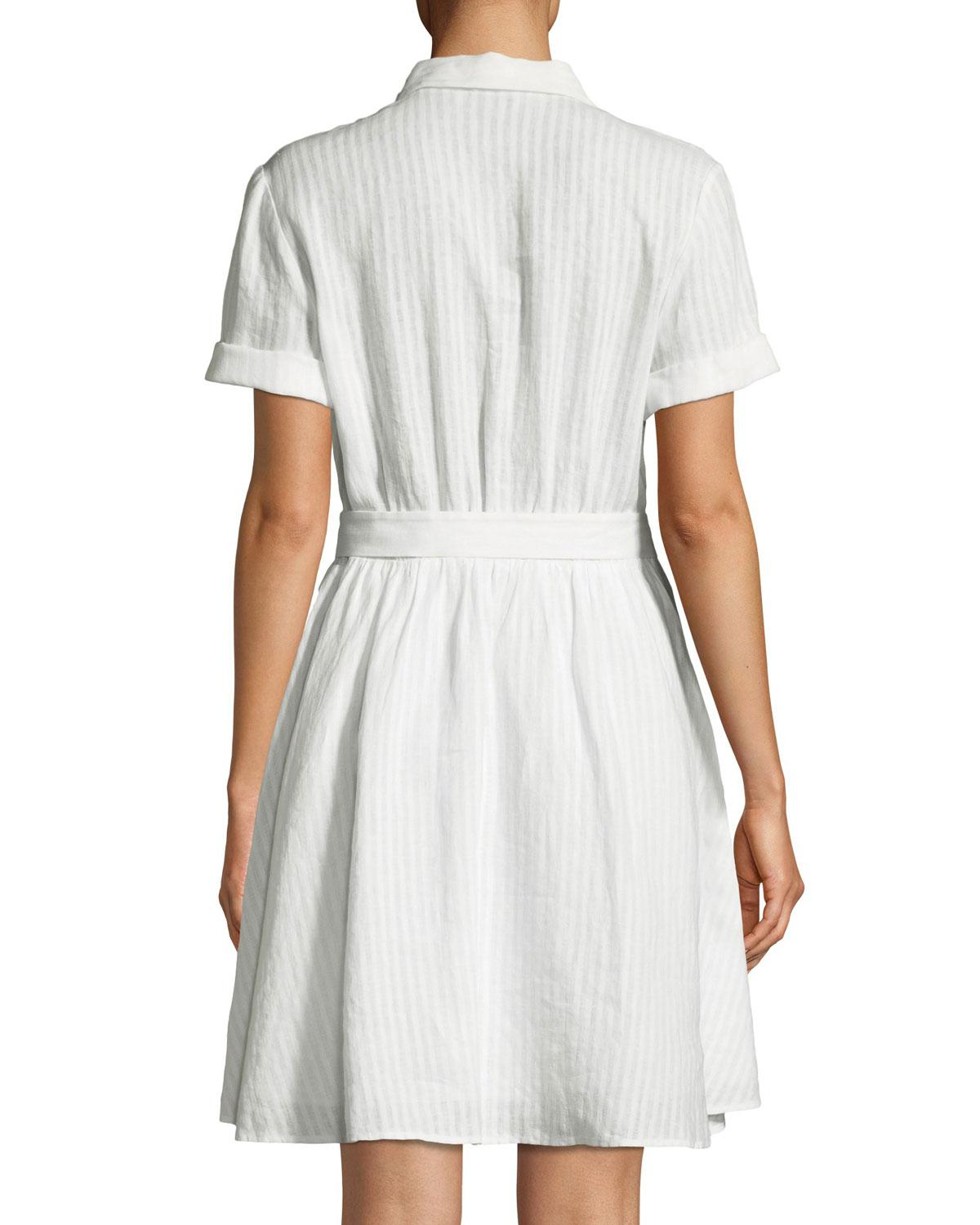 Lyst - Frame Short-sleeve Button-down Striped Linen Dress in White