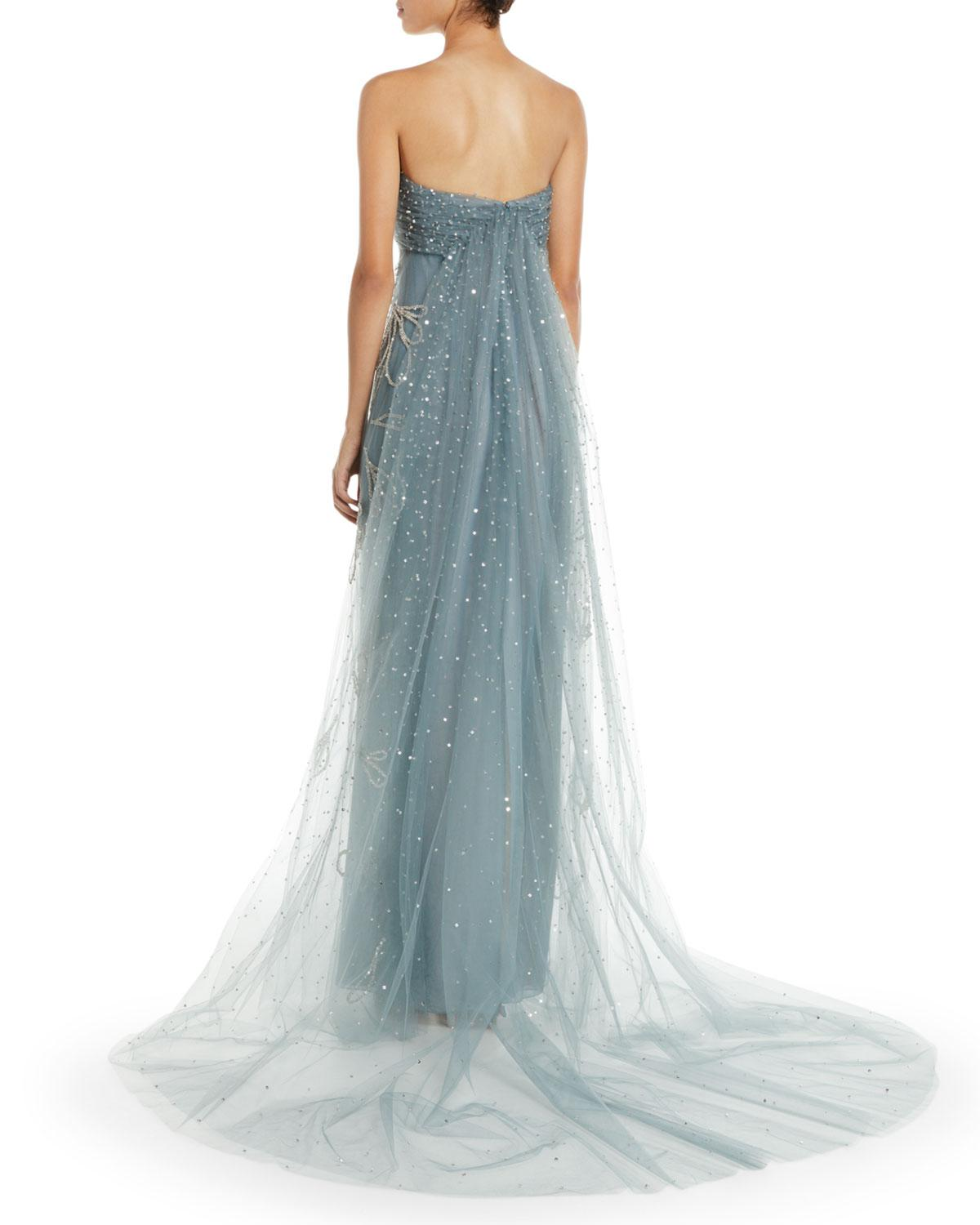 Lyst - Oscar De La Renta Strapless Sequin-embroidered Tulle Evening ...
