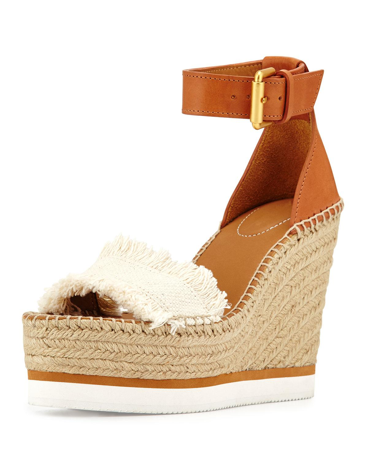 See By Chloé - Natural Glyn Canvas & Leather Espadrille Sandal - Lyst. View  fullscreen