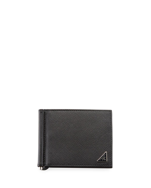 e05f6352f934 ... closeout prada. mens black saffiano triangolo wallet with money clip  2d81e 23abc