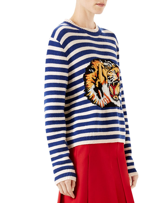 643b593f28 Lyst - Gucci Striped Wool Knit Top in Blue