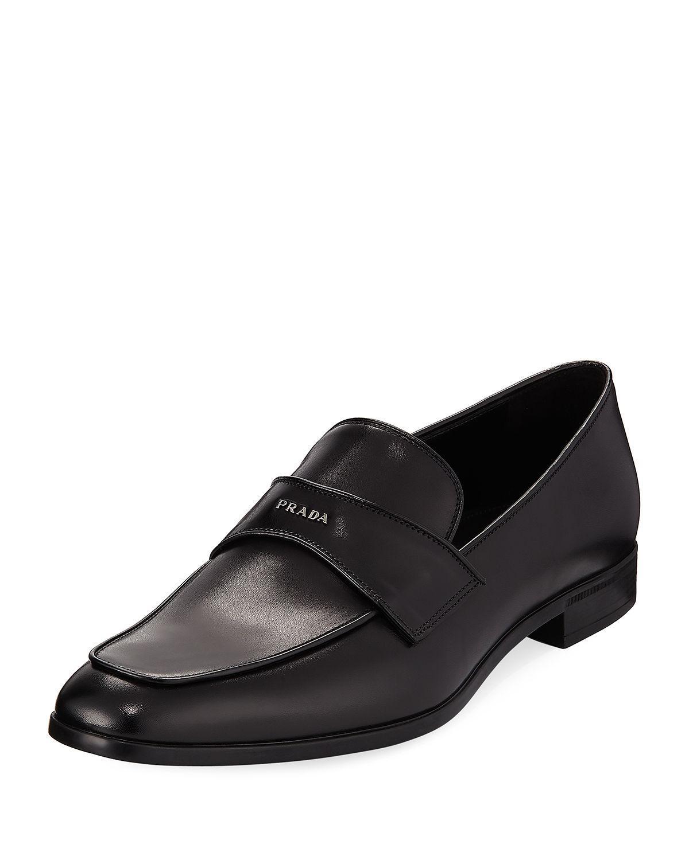 291c58bfb77 Prada - Black Vitello Leather Dress Loafer for Men - Lyst. View fullscreen