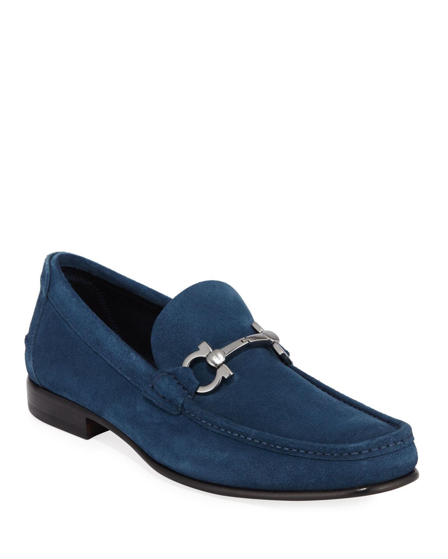 7ffbdc4454b Lyst - Ferragamo Men s Fiordi Suede Loafers With Gancini Bit in Blue ...