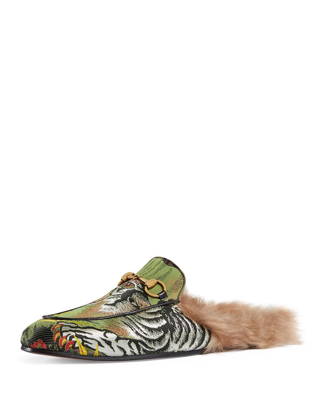2a9ec1ff5b4 Lyst - Gucci Princetown Tiger Jacquard Fur-lined Slipper in Green