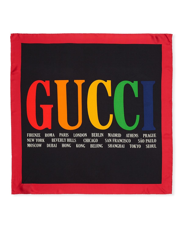 4f622b0fb3a Lyst - Gucci Silk Twill Multi-city Logo Scarf in Black