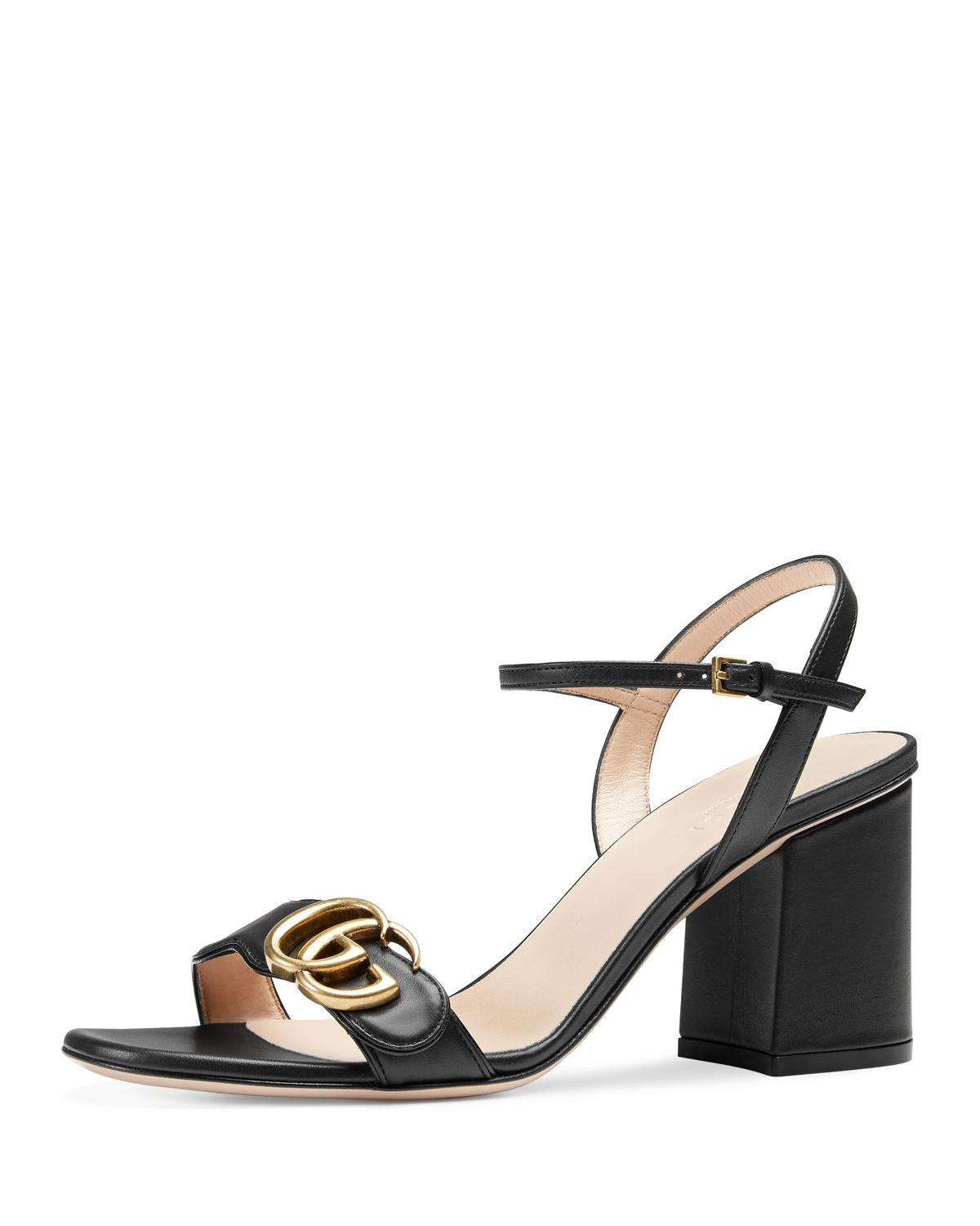 ba6a665f964 Lyst - Gucci Marmont Leather GG Block-heel Sandals in Black