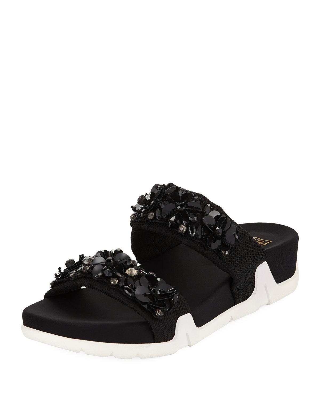 Ash. Women's Black Oman Flowers Crystal-embellished Slide Sandal
