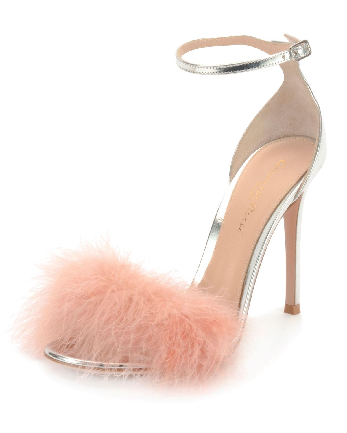 247444ad8d2a Lyst - Gianvito Rossi Marabou Metallic Feather Sandals in Metallic ...