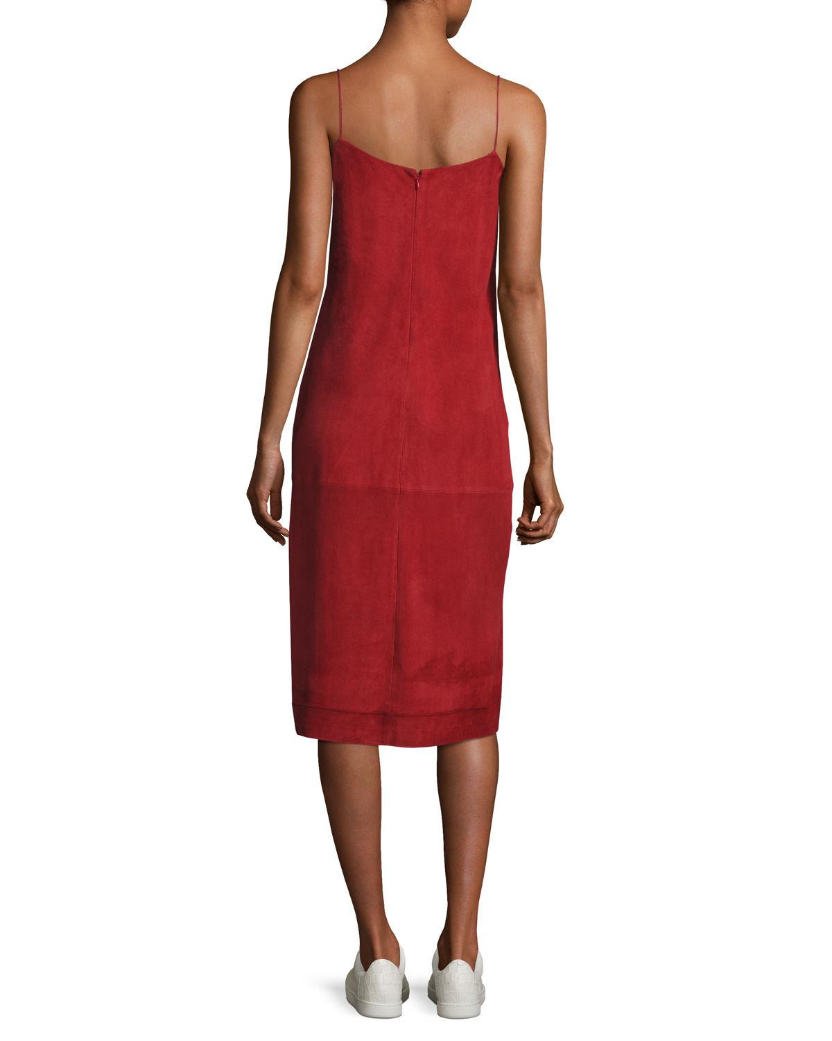 3c38502d72e4 Lyst - Theory Telson S Metises Suede Midi Dress in Red