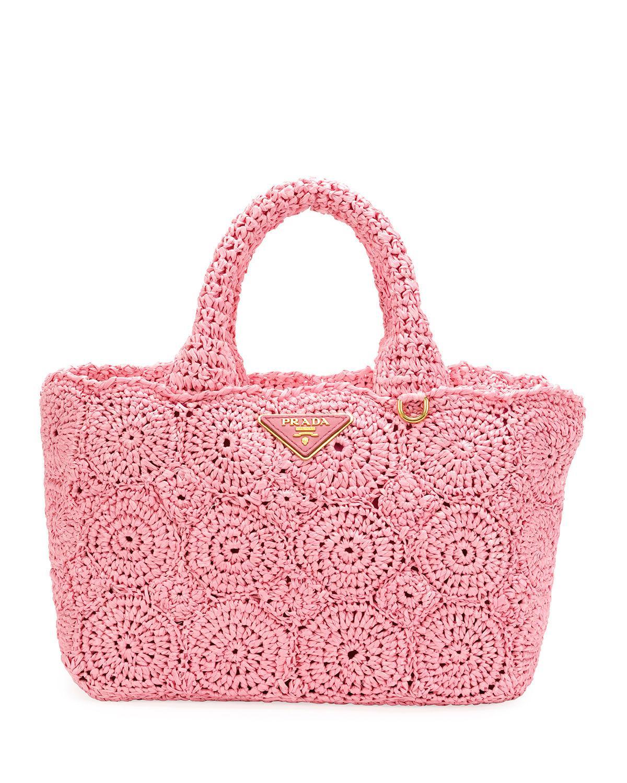 09f800f0cda0 ... spain prada raffia circle tote bag in pink lyst 6f5d3 1a1d0 ...