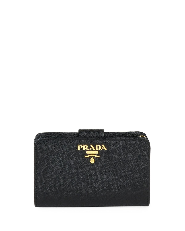 f649d5f74fc6 Prada - Black Medium Saffiano Tab Wallet - Lyst. View fullscreen