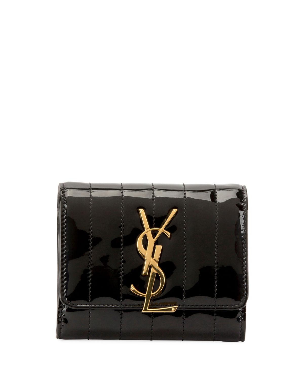 cd63e4d35e Lyst - Saint Laurent Vicky Lambskin Leather Trifold Wallet ...