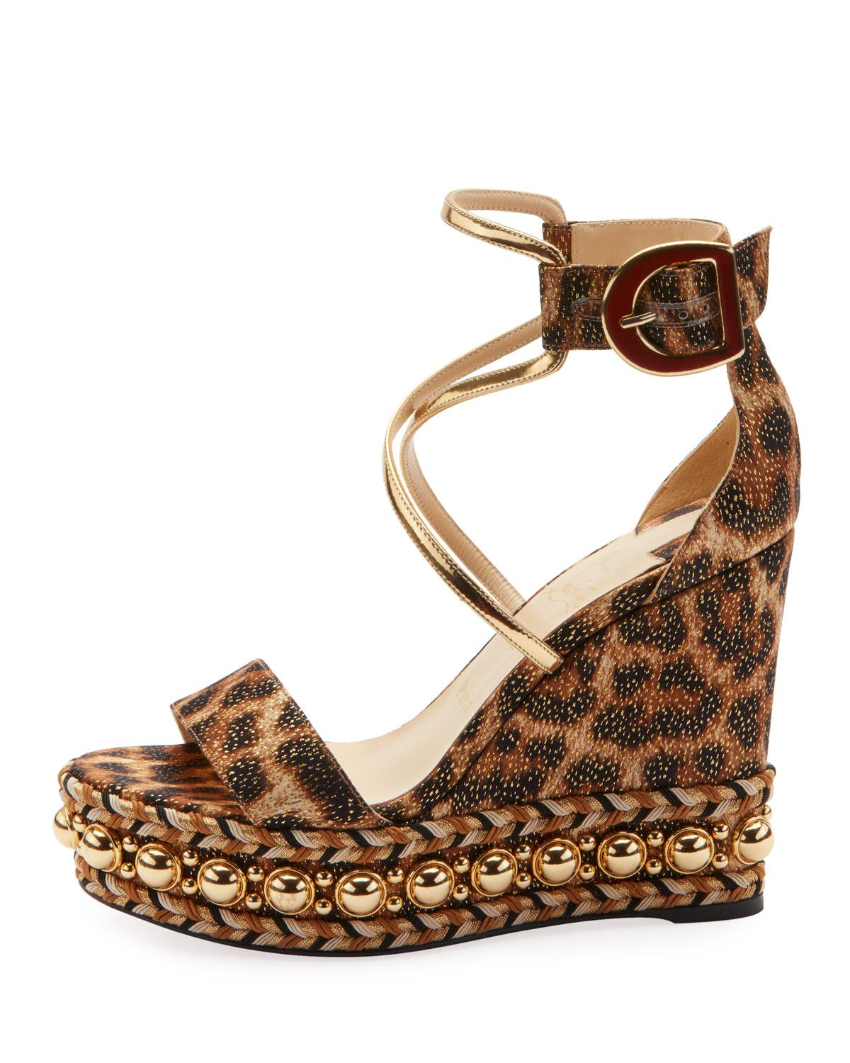 aed62bc774b4 Christian Louboutin Chocazeppa Leopard Wedge Red Sole Espadrille Sandals in  Brown - Lyst