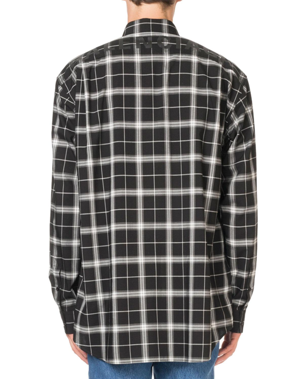 6a198e50 Lyst - Balenciaga Men's Plaid Sport Shirt in Black for Men