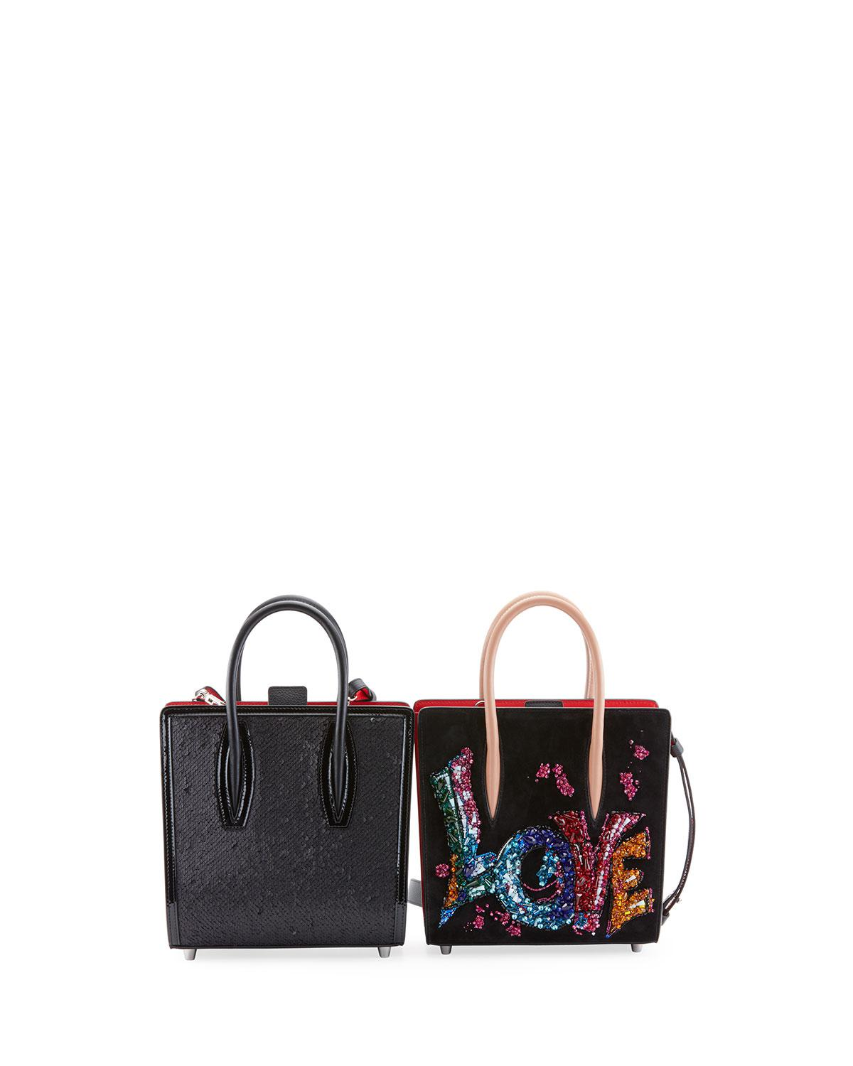 7beb764dcf0 Lyst - Christian Louboutin Paloma Small Embroidered Tote Bag in Black