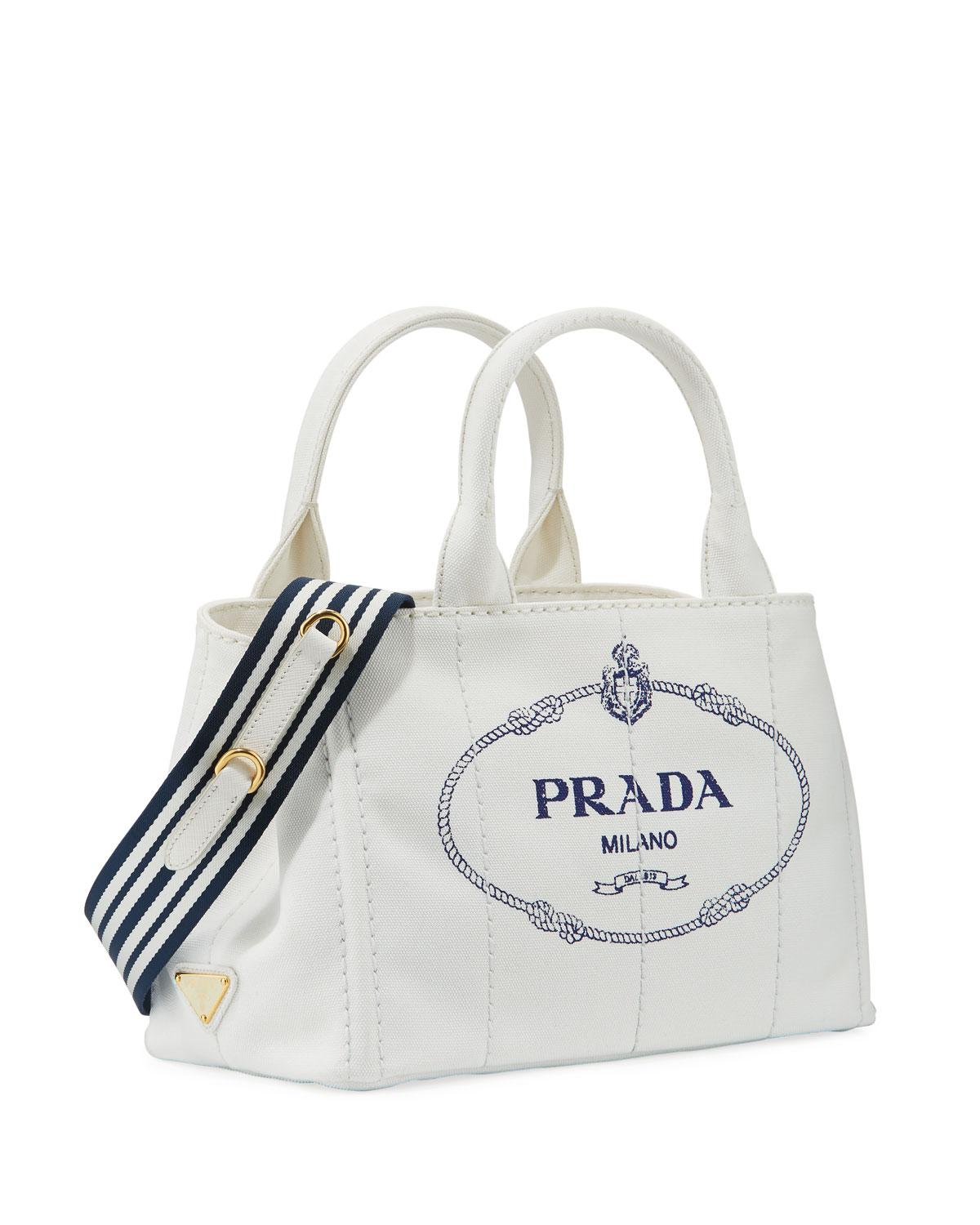643b6438bec7 ... sale prada white small denim tote bag with logo lyst. view fullscreen  c35e4 d4459