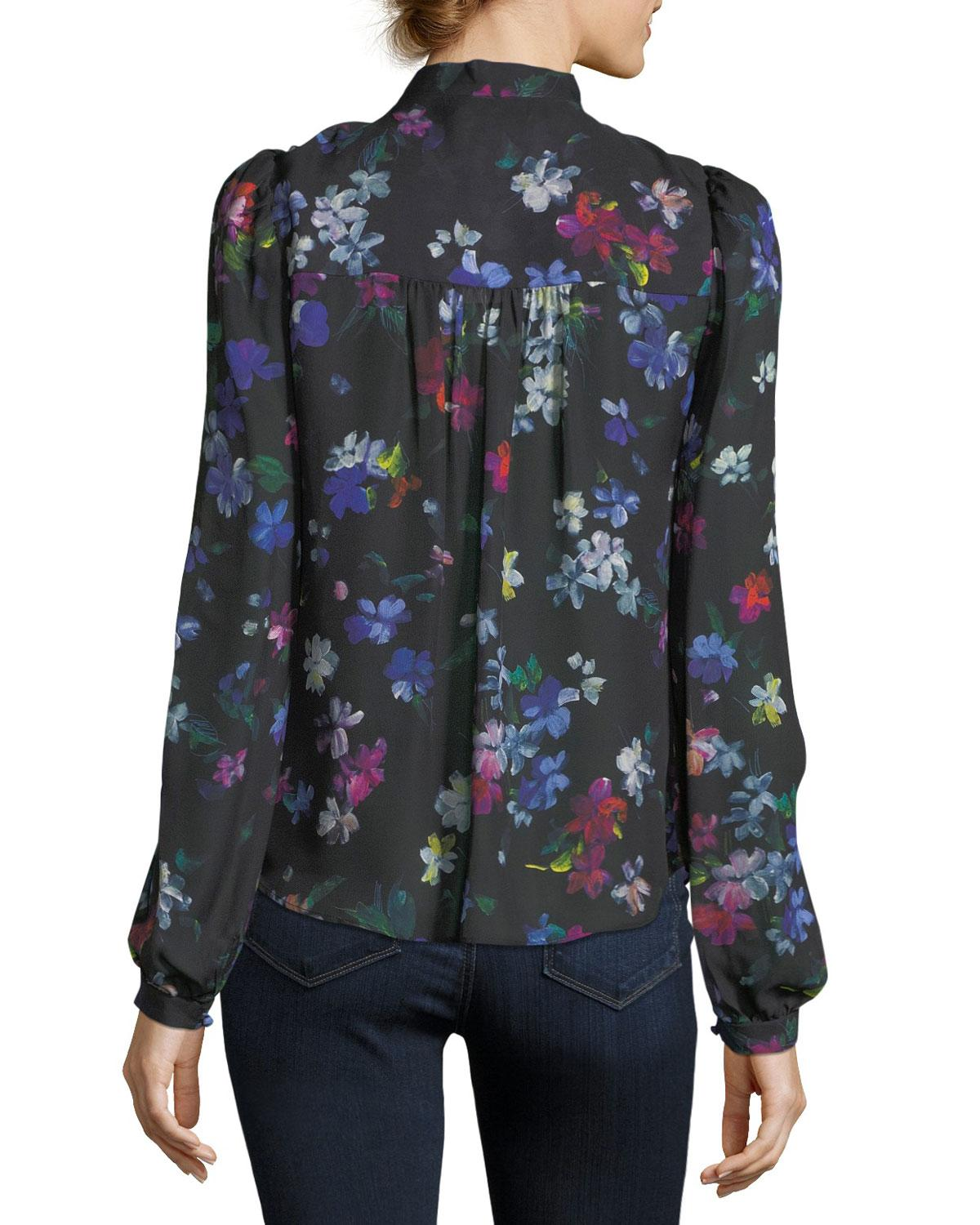 e8a9f4d7860 Lyst - MILLY Tie-neck Painted Floral Georgette Silk Blouse in Black