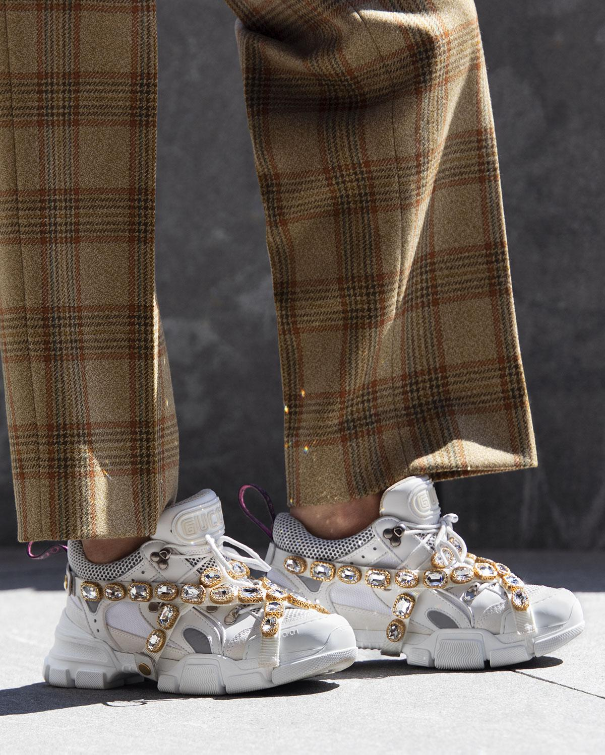 40cafbbc50c5c Gucci - White Flashtrek Sneakers With Removable Crystals - Lyst. View  fullscreen