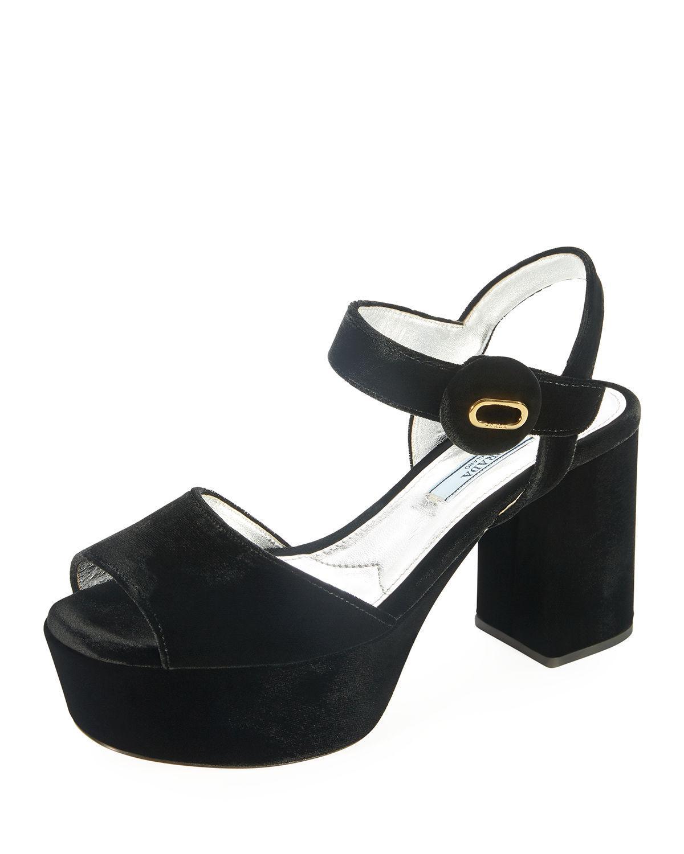 f5a6c3ded35c Lyst - Prada Quarter-strap Velvet Platform Sandal in Black