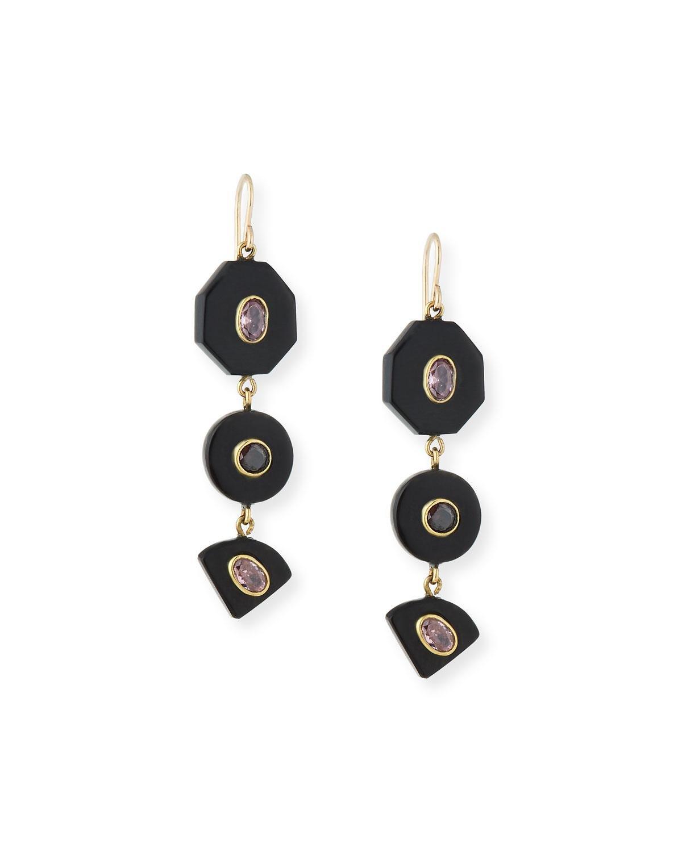 Ashley Pittman Tarabu Linear Dark Horn & Bronze Drop Earrings mxz9tOD