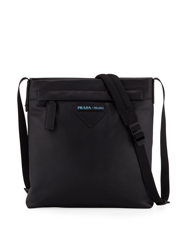 caf0b4c6c8 Lyst - Prada Men s Large Smooth Leather Crossbody Bag in Black for Men