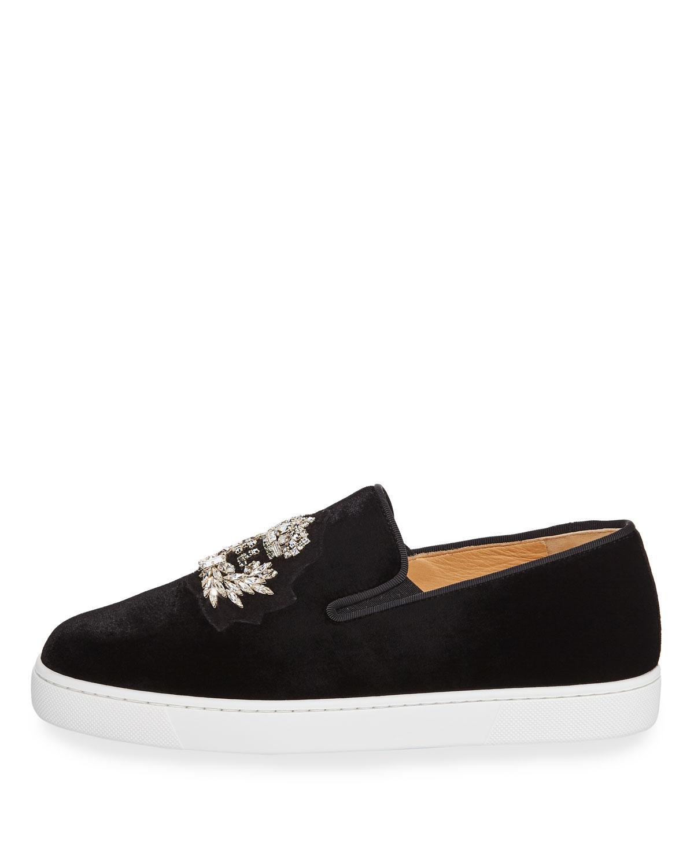 0a53cd2f399 ... where to buy lyst christian louboutin logo boat velvet skate sneakers in  black cc8ce 97655
