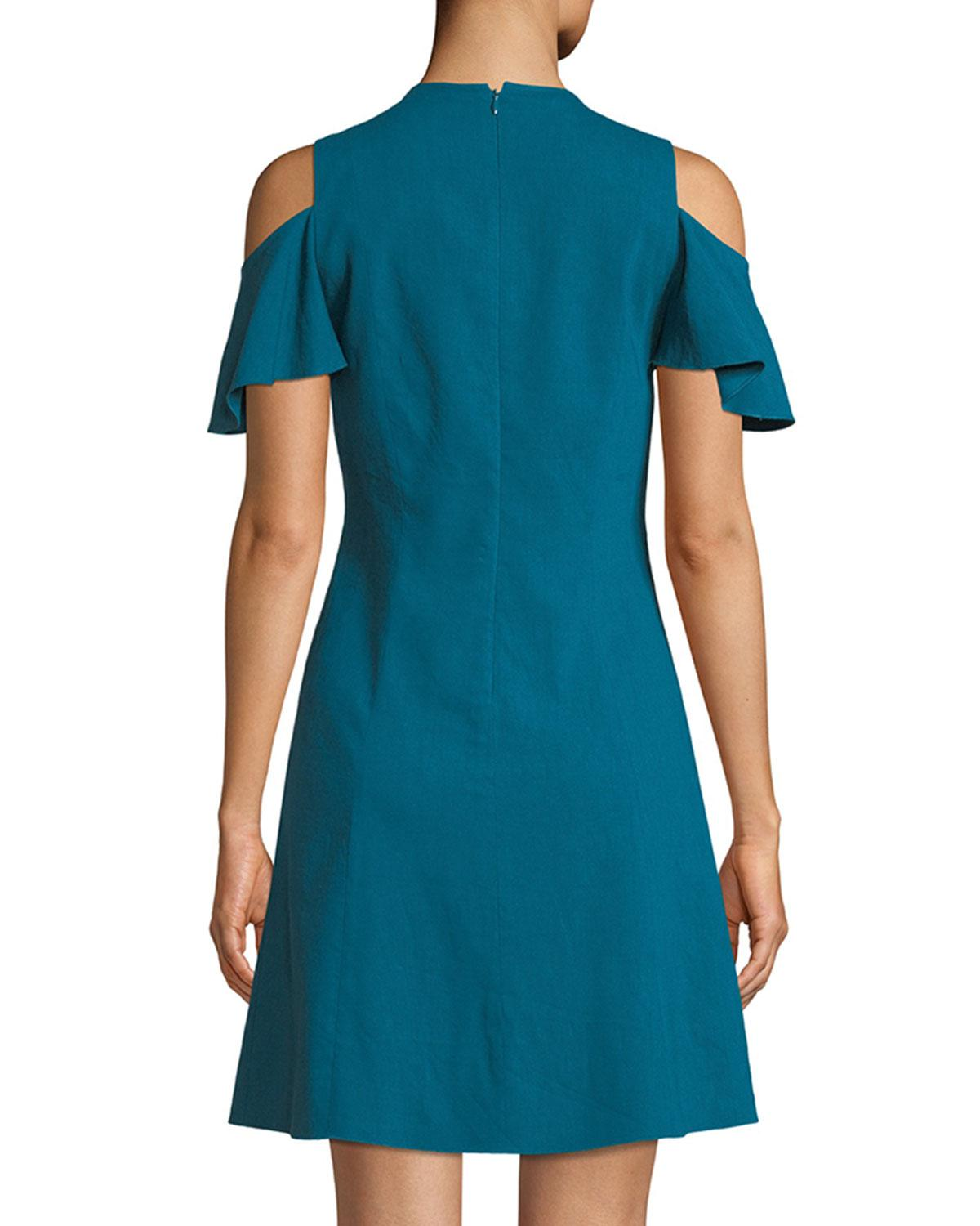 ebf8874bd9 Lyst - Elie Tahari Woman Raylan Cold-shoulder Cutout Linen-blend Mini Dress  Teal in Blue - Save 67%