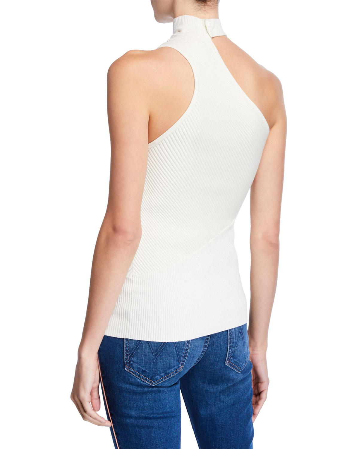 09a708d07ebf4 Lyst - Ramy Brook Portia One-shoulder Mock-neck Sleeveless Top in White