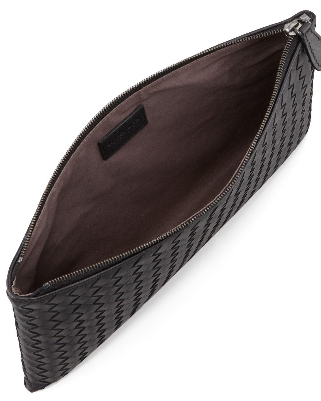 Lyst - Bottega Veneta Extra Large Flat Cosmetics Bag in Black 3c90f7c1a13b8