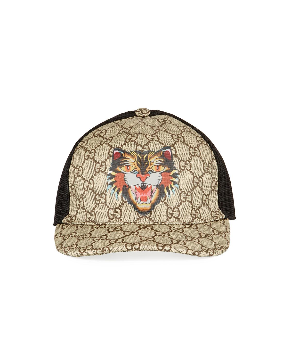 ec124dc586c Lyst - Gucci Angry Cat Gg Supreme Baseball Cap in Brown for Men