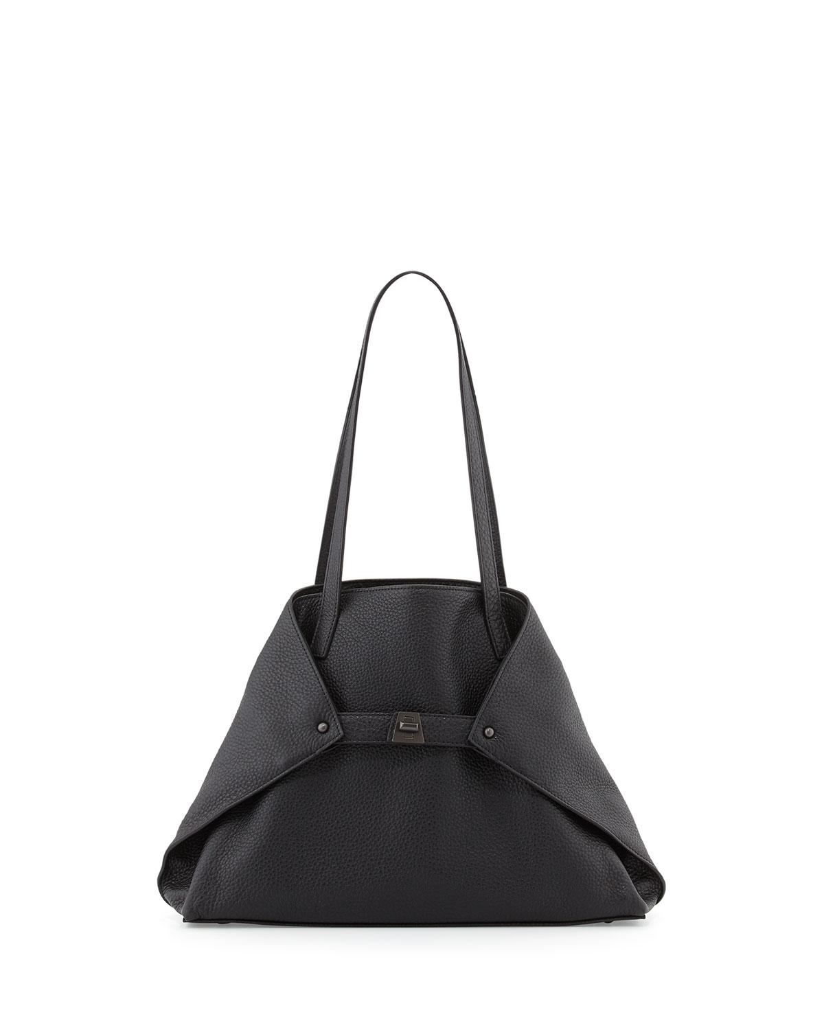 31614ff85c43 Lyst - Akris Ai Small Leather Shoulder Tote Bag in Black - Save 2%