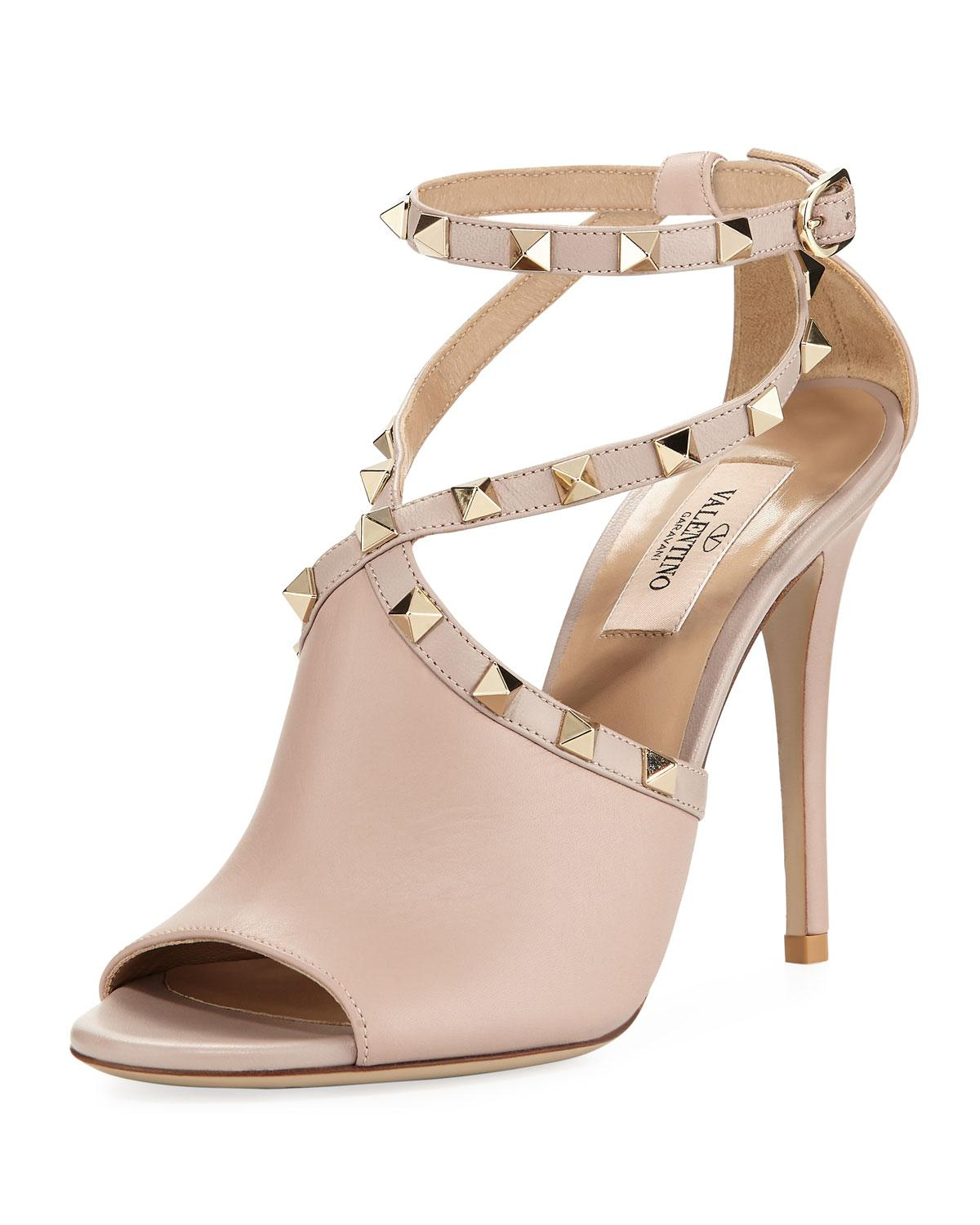 2a66e39587e0 Lyst - Valentino Leather Rockstud Ankle-wrap Sandal in Natural