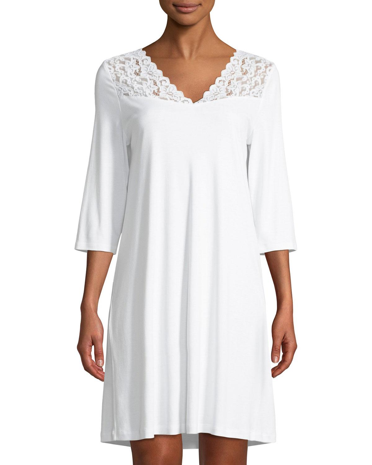 4fa54e930c Lyst - Hanro Moments 3 4 Sleeve Nightgown in White