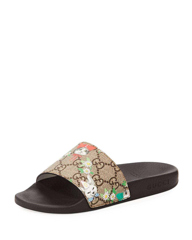 bbf3e624 Lyst - Gucci Pursuit Cat-print Gg Supreme Slide Sandals in Natural