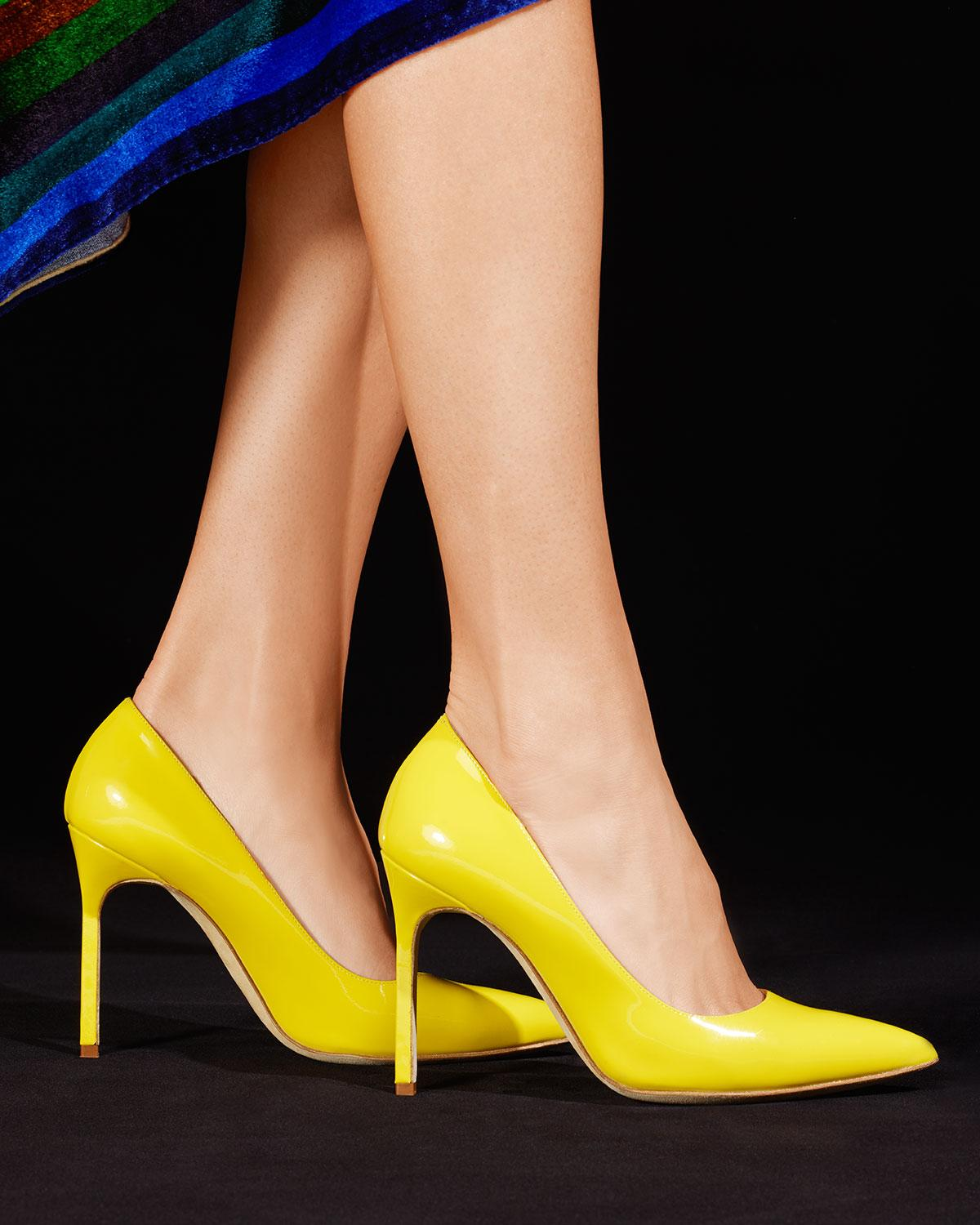 deee9743f1c Lyst - Manolo Blahnik Bb Patent 105mm Pointed-toe Pumps in Yellow