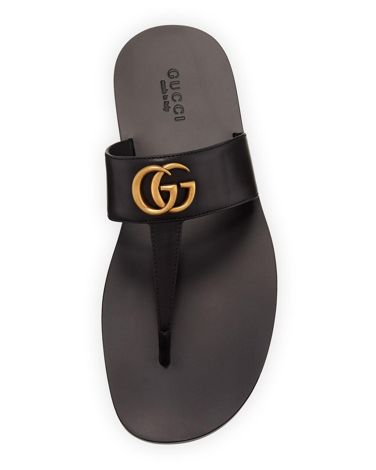 88b9daad7 Gucci Men s GG-Stud Leather Thong Sandals in Black - Lyst