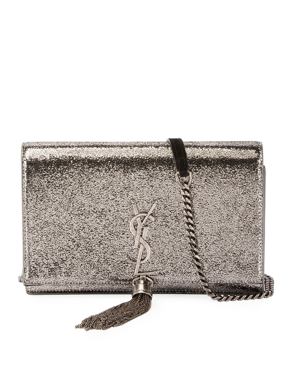 4ca5fccfea3 Saint Laurent. Women s Kate Monogram Ysl Small Crackled Metallic Wallet ...