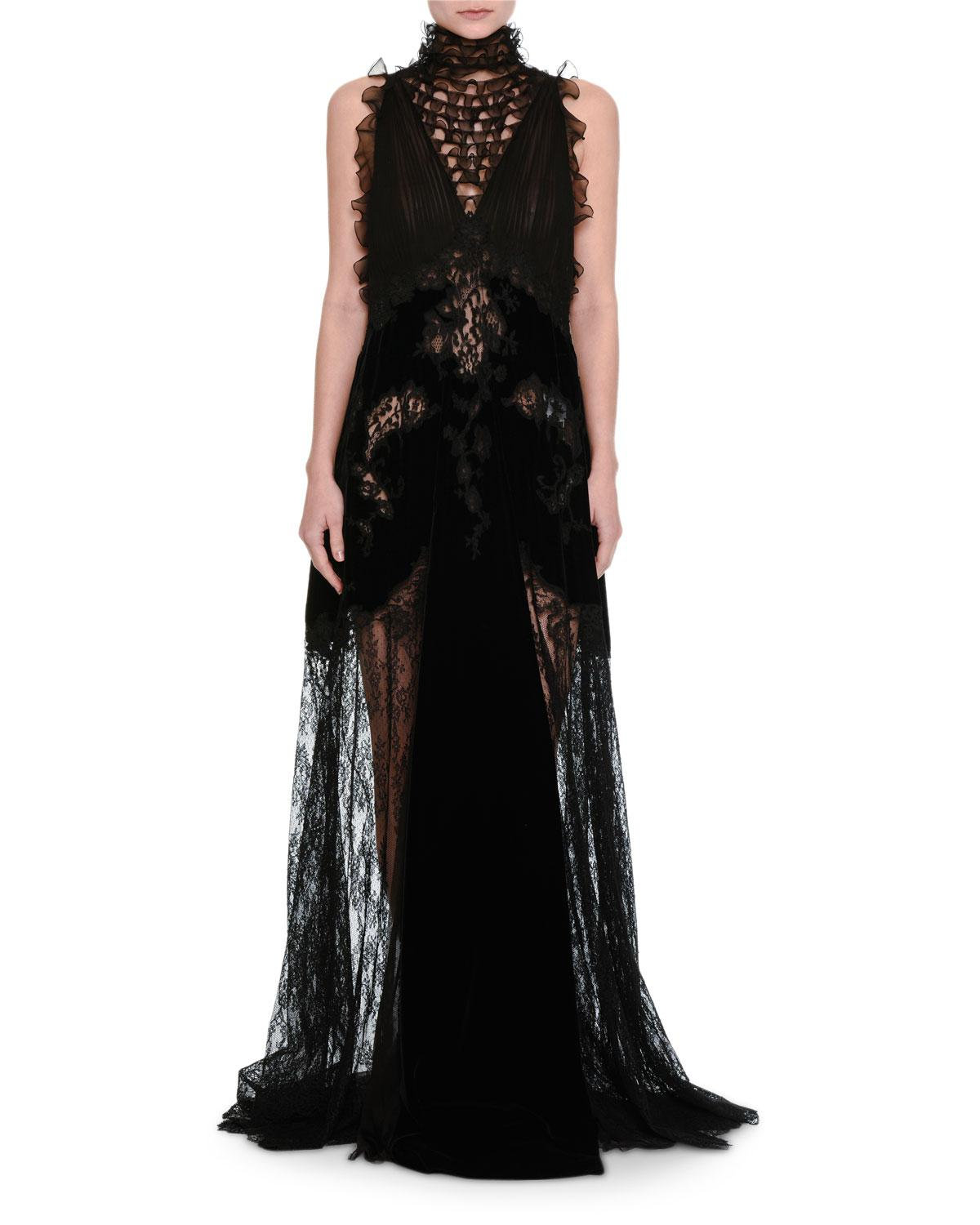 Lyst - Valentino Lace & Chiffon Mock-neck Gown With Velvet Trim in Black