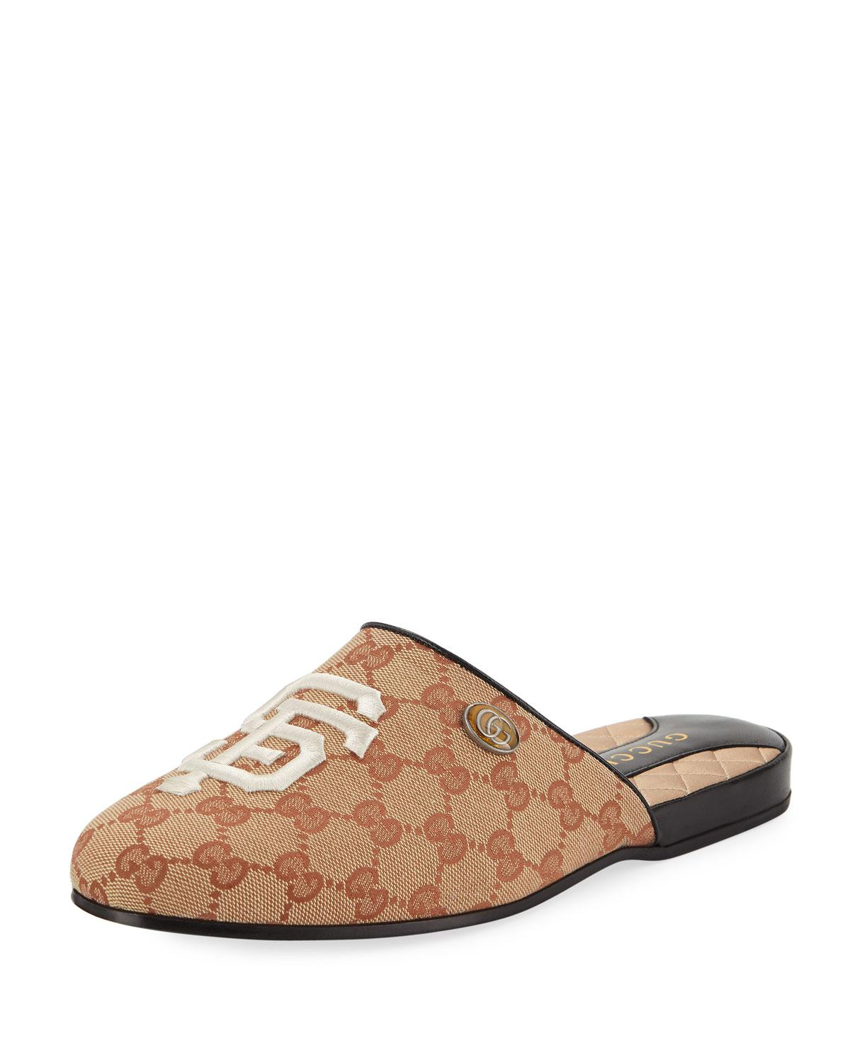 e22e901bb72 Lyst - Gucci Original GG Slippers With Sf Giantstm Mlb Patch in Natural